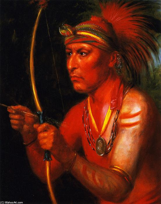 Powasheek (To Dash the Water Off), a Fox Chief, Oil On Panel by Charles Bird King (1785-1862, United States)
