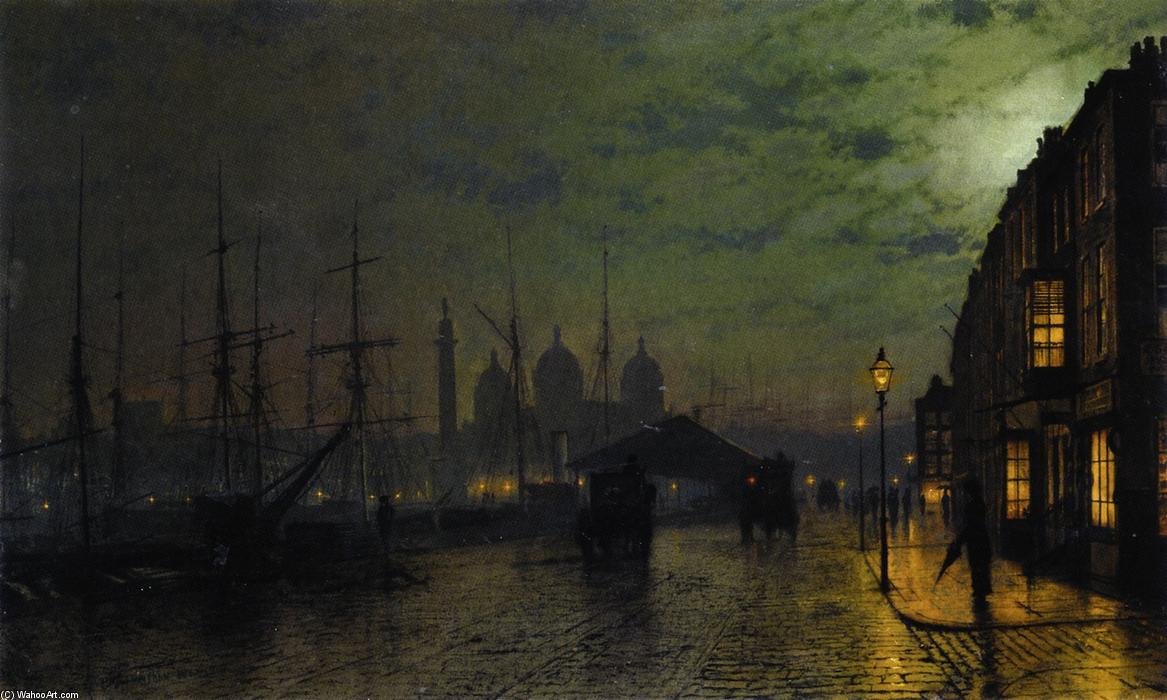 Princes Dock, Hull, Frescoes by John Atkinson Grimshaw  (order Fine Art painting copy John Atkinson Grimshaw)