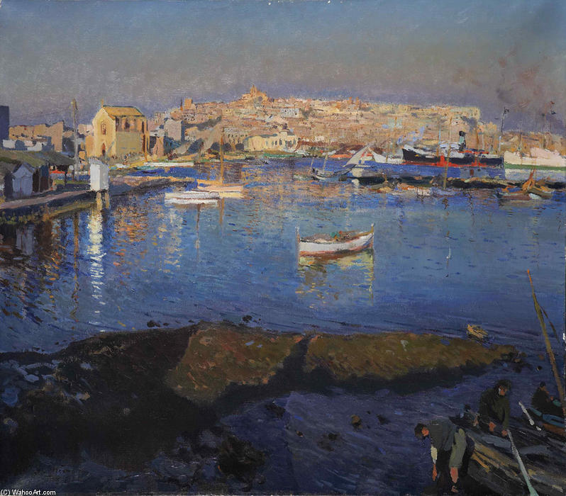 Puerto de Tarragona (also known as Port of Tarragona) by Joaquin Mir Trinxet (1873-1940, Spain)