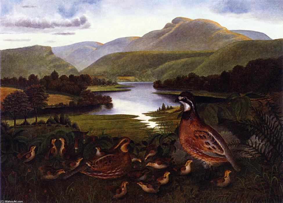 Quail in Landscape, Oil On Canvas by Rubens Peale (1784-1865, United States)