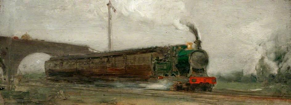 Railway Train by Henry Scott Tuke (1858-1929, United Kingdom) | Museum Art Reproductions Henry Scott Tuke | ArtsDot.com