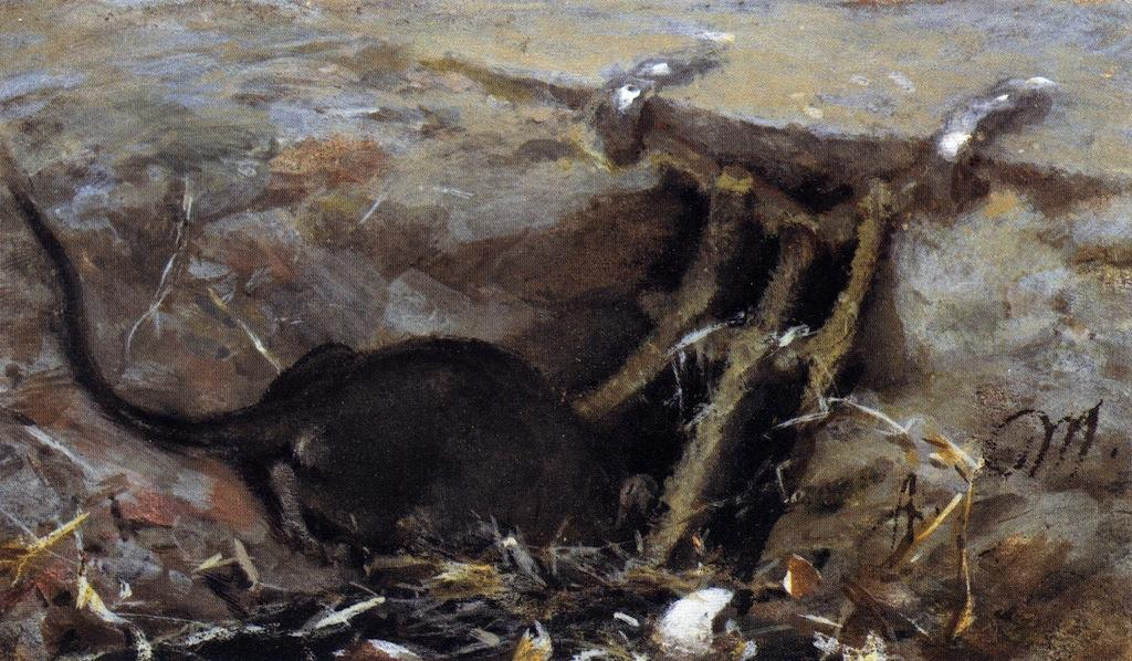 Rat in the Gutter, Frescoes by Adolph Menzel (1815-1905, Poland)