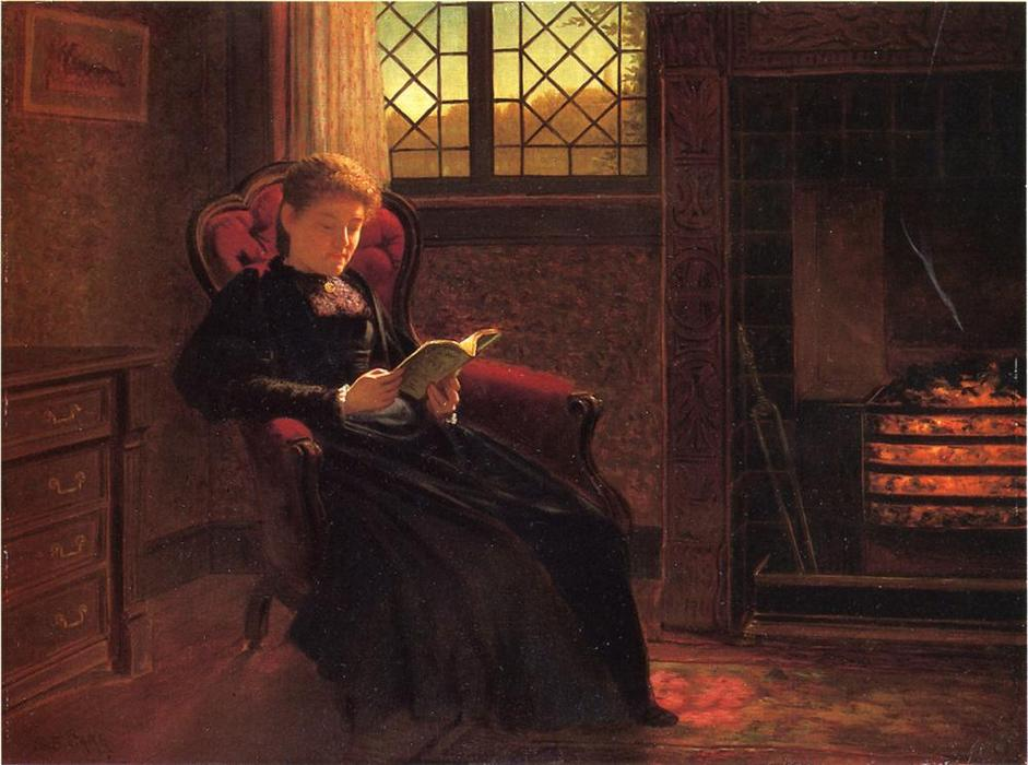Reading by the Fire, Oil On Canvas by Samuel S Carr (1837-1908, United Kingdom)