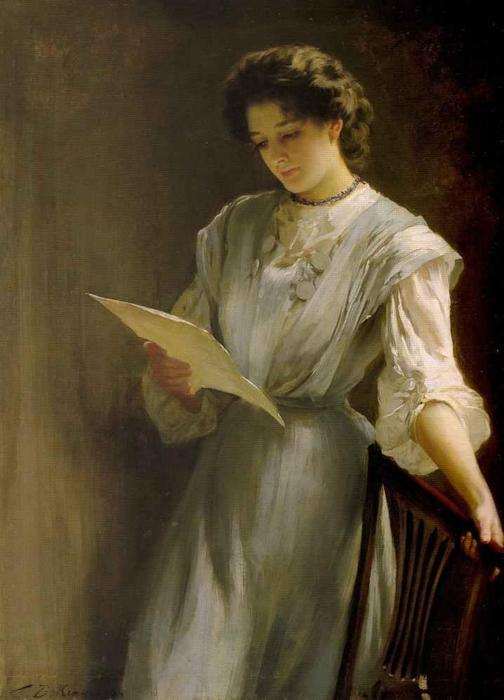 Reading the Letter, Oil On Canvas by Thomas Benjamin Kennington (1856-1916, United Kingdom)