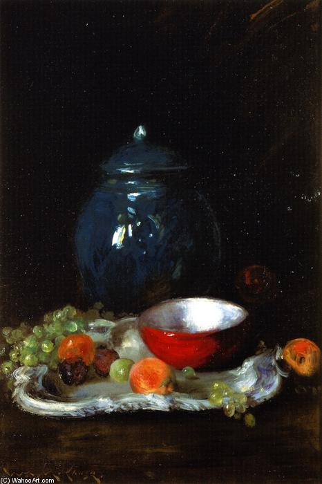 The Red Bowl: Still LIfe (also known as The LIttle Red Bowl), Oil On Canvas by William Merritt Chase (1849-1916, United States)