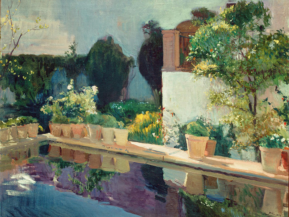 Reservoir, Alcázar of Seville, Oil On Canvas by Joaquin Sorolla Y Bastida (1863-1923, Spain)