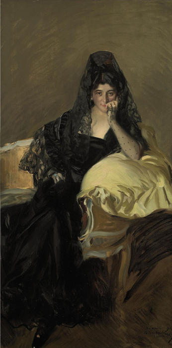 Retrato de Señora de Urcola llevaba una mantilla de negro, Oil On Canvas by Joaquin Sorolla Y Bastida (1863-1923, Spain)