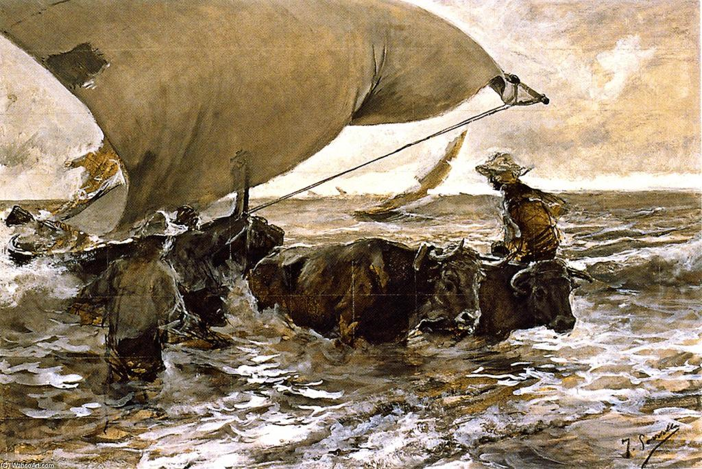 The Return from Fishing (study), Watercolour by Joaquin Sorolla Y Bastida (1863-1923, Spain)