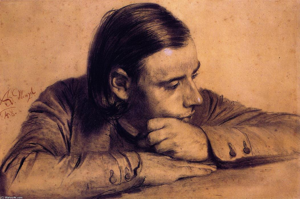 Richard Menzel, the Artist's Brother, Chalk by Adolph Menzel (1815-1905, Poland)