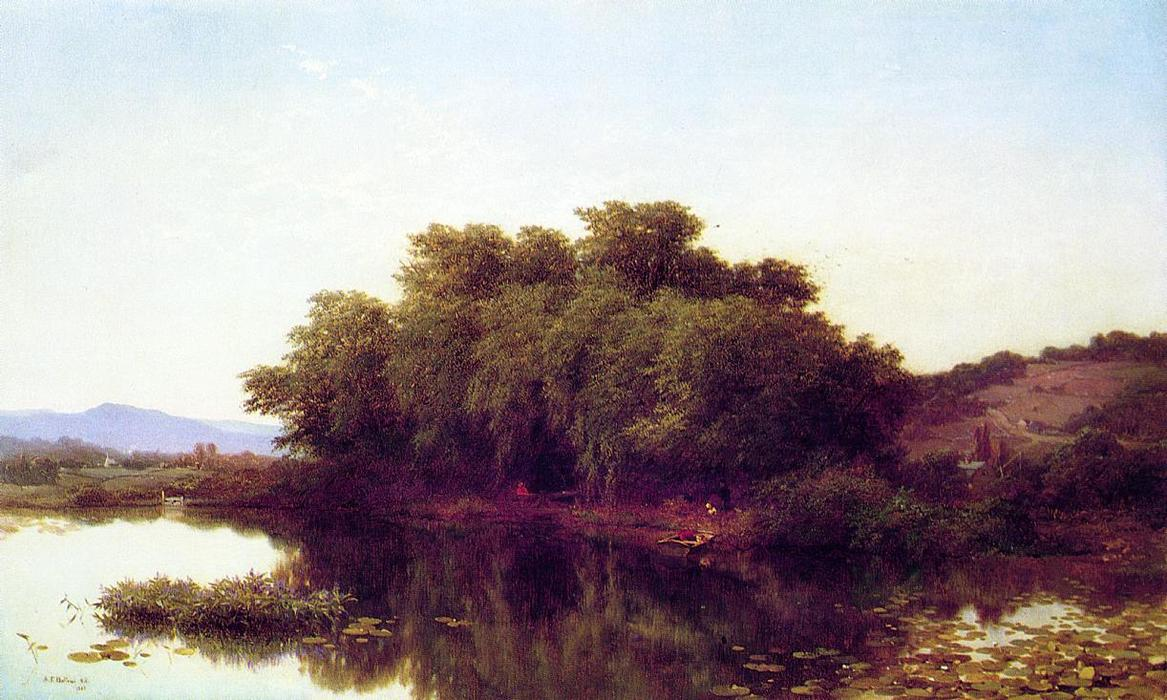 A River Bank, 1861 by Albert Fitch Bellows (1829-1883, United States) | Painting Copy | ArtsDot.com
