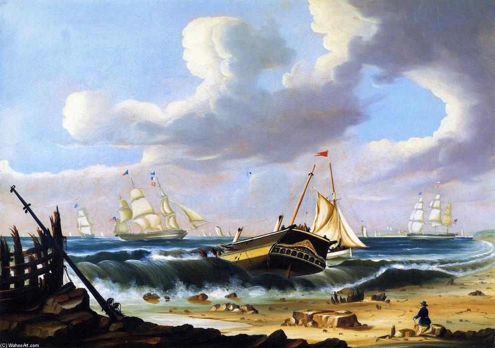 Rockaway Beach, New York, with the Wreck of the Ship Bristol, Oil On Canvas by Thomas Chambers (1808-1869)