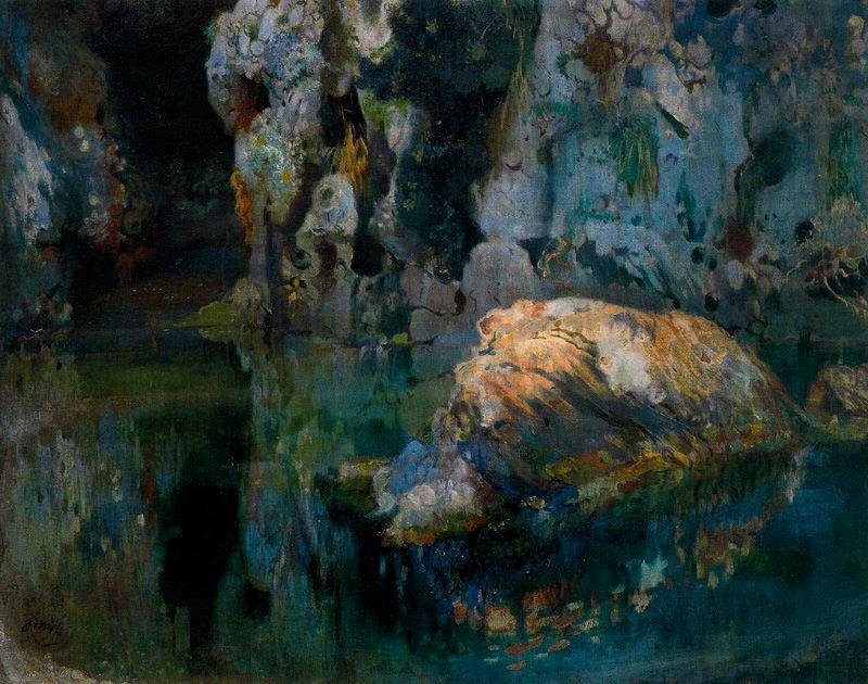 The Rock in the Pond by Joaquin Mir Trinxet (1873-1940, Spain)