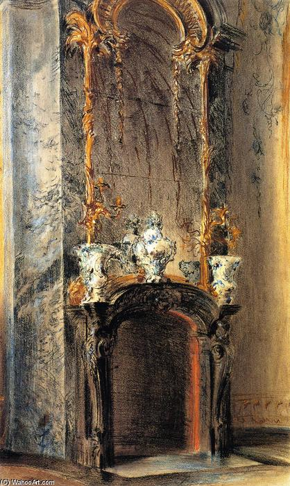 Rococo Fireplace, Drawing by Adolph Menzel (1815-1905, Poland)