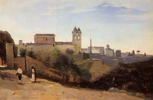 Jean Baptiste Camille Corot - Rome, the Trinita dei Monti - View from the Gardens of the Academie de France