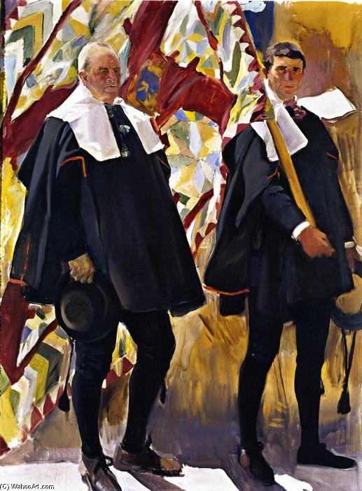Roncal Valley Types, Oil On Canvas by Joaquin Sorolla Y Bastida (1863-1923, Spain)