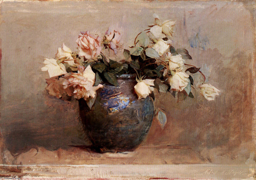 Roses, 1890 by Abbott Handerson Thayer (1849-1921, United States) | Museum Art Reproductions | ArtsDot.com