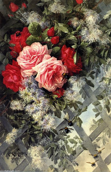 Roses La France and Jack Noses with Clematis on a Latice Work, No. 36, 1900 by Paul De Longpre (1855-1911, France) | Museum Art Reproductions | ArtsDot.com