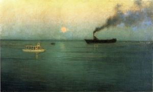 Lowell Birge Harrison - Rosy Moon off Charles Harbor