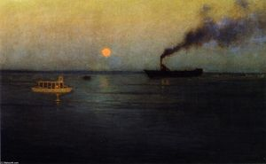 Lowell Birge Harrison - Rosy Moon off Charleston Harbo..