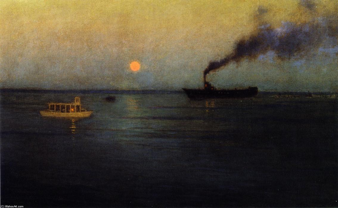 Rosy Moon off Charleston Harbor, Painting by Lowell Birge Harrison (1854-1929, United States)