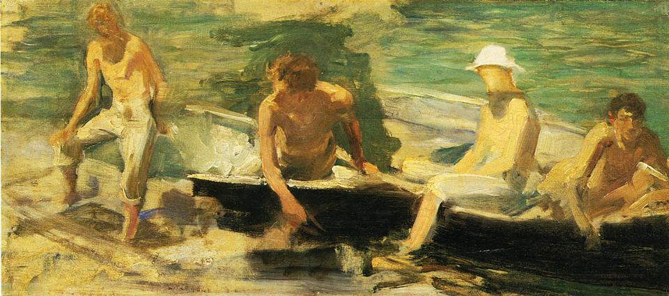 The Rowing Party by Henry Scott Tuke (1858-1929, United Kingdom) | Art Reproductions Henry Scott Tuke | ArtsDot.com