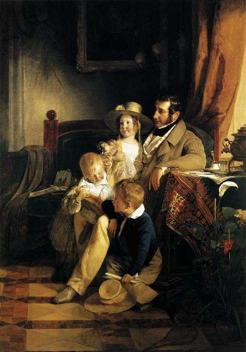 Rudolf von Arthaber with his Children, Oil On Canvas by Friedrich Ritter Von Amerling (1803-1887)