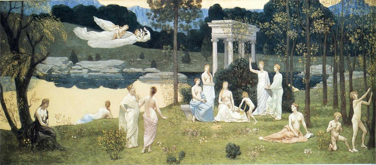 The Sacred Wood Cherished by the Arts and the Muses, 1884 by Pierre Puvis De Chavannes (1824-1898, France) | Museum Art Reproductions | ArtsDot.com