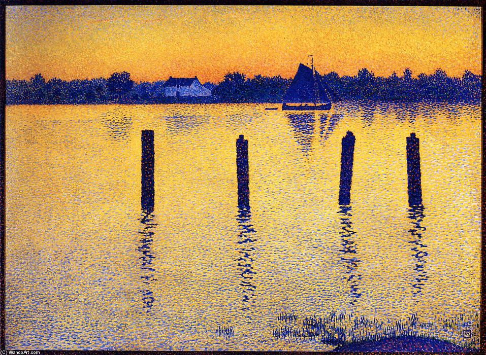 Sailboats on the River Scheldt, 1892 by Theo Van Rysselberghe (1862-1926, Belgium) | ArtsDot.com