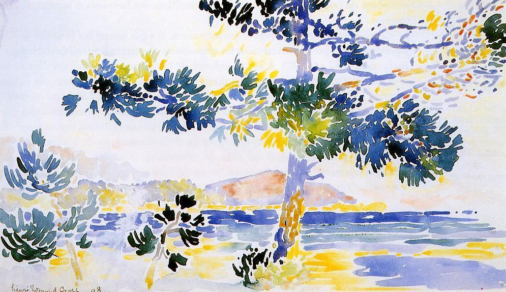 Saint-Clair Landscape, Watercolour by Henri Edmond Cross (1856-1910, France)