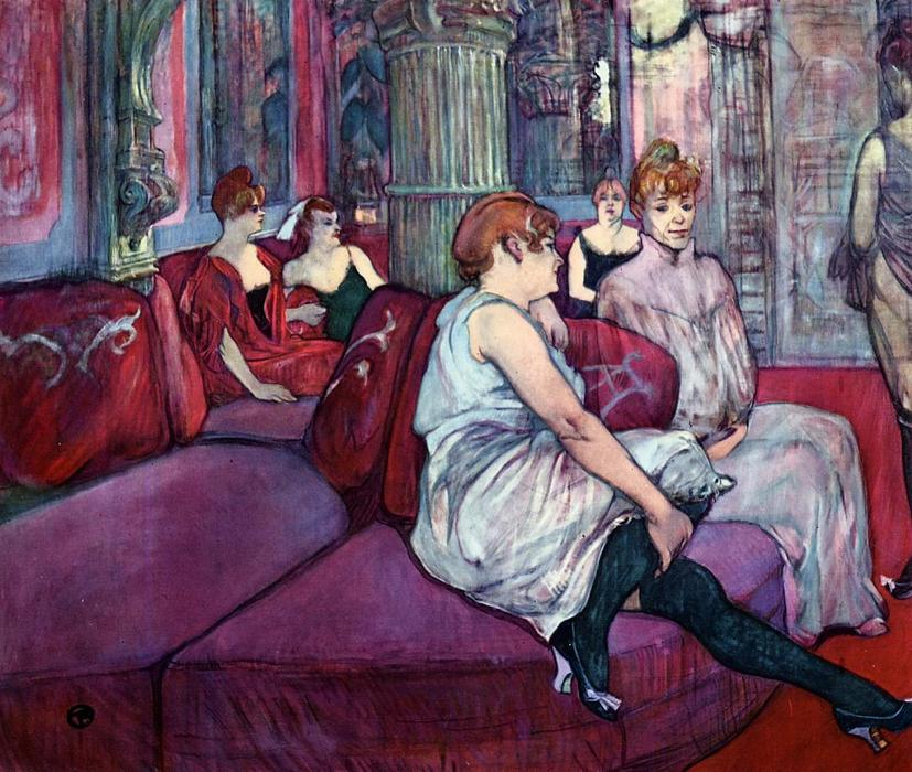The Salon in the Rue des Moulins, Pastel by Henri De Toulouse Lautrec (1864-1901, France)