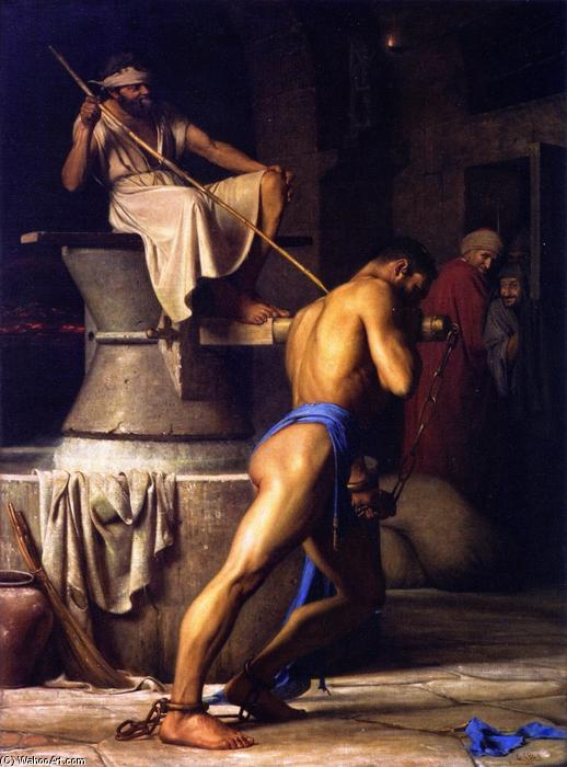 Samson and the Philistines, Oil On Canvas by Carl Heinrich Bloch (1834-1890, Denmark)