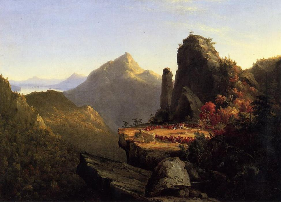 Scene from 'The Last of the Mohicans': Cora Kneeling at the Feet of Tanemund, Oil On Canvas by Thomas Cole (1801-1848, United Kingdom)