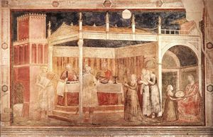 Giotto Di Bondone - Scenes from the Life of St John the Baptist: 3. Feast of Herod (Peruzzi Chapel, Santa Croce, Florence)
