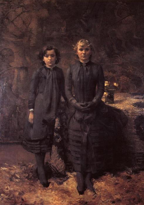The Schlobach Sisters, 1884 by Theo Van Rysselberghe (1862-1926, Belgium) | ArtsDot.com