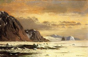 William Bradford - Seascape with Icebergs