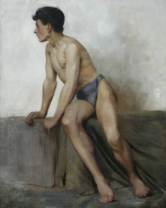 Seated Nude Study, 1877 by Henry Scott Tuke (1858-1929, United Kingdom) | Museum Quality Copies Henry Scott Tuke | ArtsDot.com