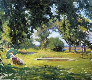 Edmund Charles Tarbell - Seated Woman by a Pond (also known as My Wife in a Garden)