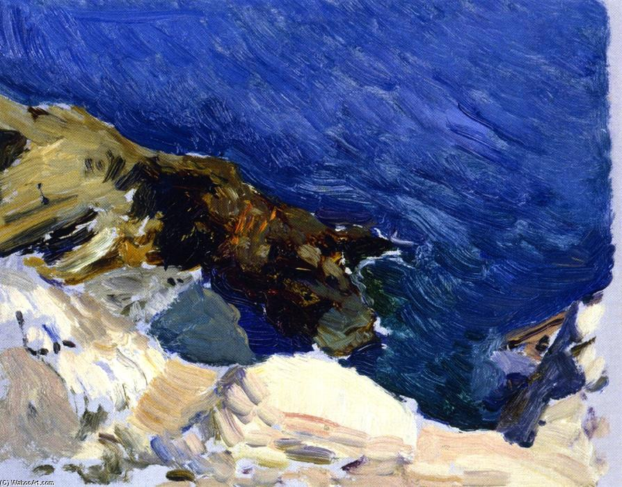 The Sea at Ibiza (study for 'The Smugglers), Oil On Canvas by Joaquin Sorolla Y Bastida (1863-1923, Spain)