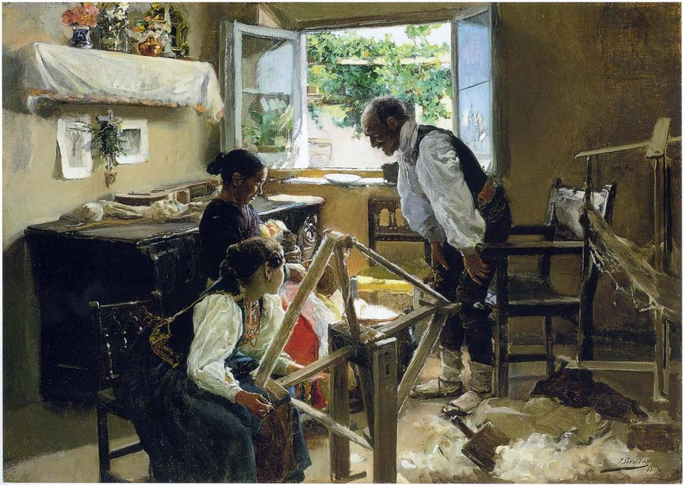 Segovia Family, the Suckling Child, Oil On Canvas by Joaquin Sorolla Y Bastida (1863-1923, Spain)