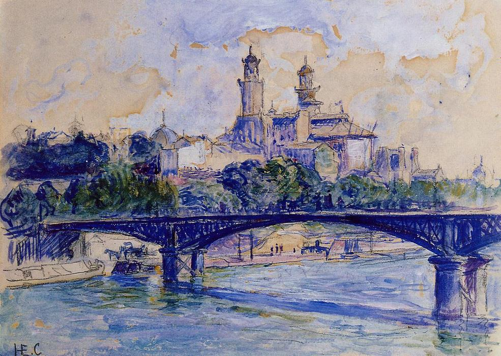 The Seine by the Trocadero, Watercolour by Henri Edmond Cross (1856-1910, France)
