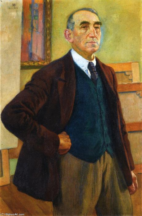 Self Portrait in a Green Waistcoat, Oil On Canvas by Theo Van Rysselberghe (1862-1926, Belgium)