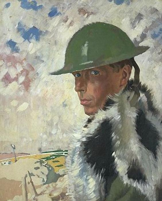 Self Portrait in Helmet, 1917 by William Newenham Montague Orpen  (order Fine Art Framed Giclee William Newenham Montague Orpen)