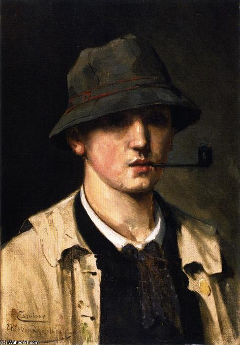 Self Portrait with Pipe [sketch], Oil On Canvas by Theo Van Rysselberghe (1862-1926, Belgium)