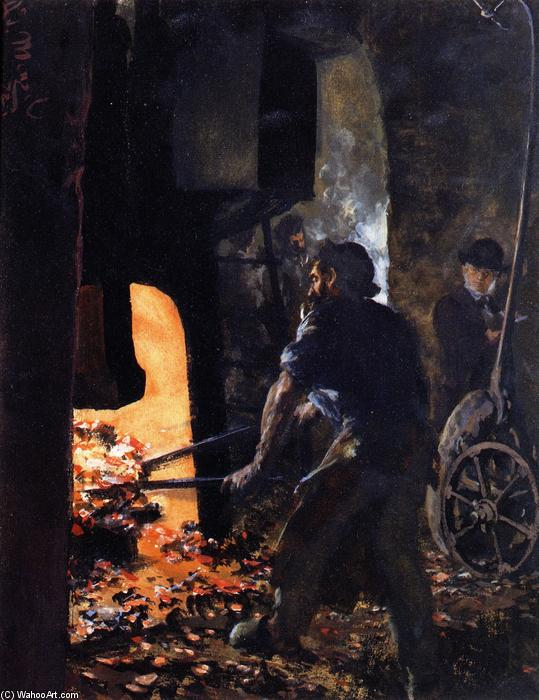 Self Portrait with Worker near the Steam-hammer, 1872 by Adolph Menzel (1815-1905, Poland) | Art Reproduction | ArtsDot.com