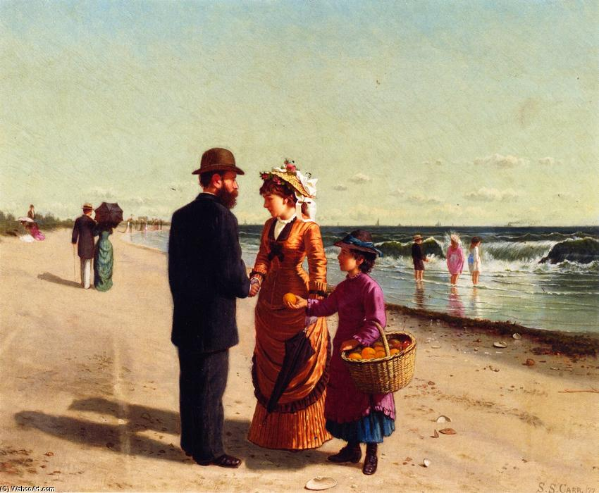 Selling Oranges by the Seashore, Oil On Canvas by Samuel S Carr (1837-1908, United Kingdom)