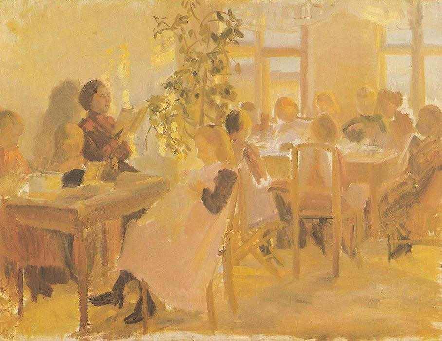 Sewing Class by Anna Kirstine Ancher (1859-1935, Denmark) | Museum Art Reproductions | ArtsDot.com