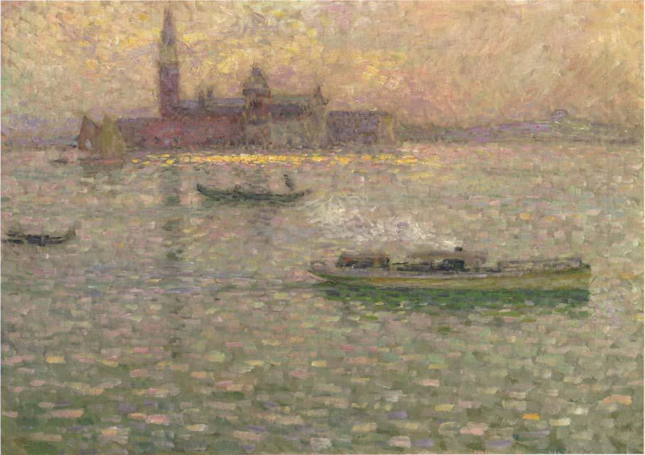 San Giorgio at Maggiore Venice, Oil On Canvas by Henri Eugène Augustin Le Sidaner (1862-1939, Mauritius)