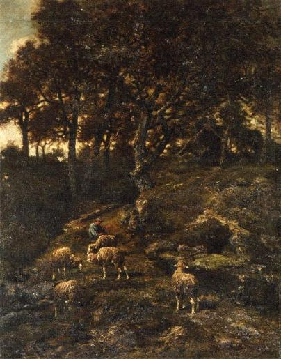 Shepherd and his Flock, Oil On Canvas by Charles Émile Jacque (1813-1894, France)
