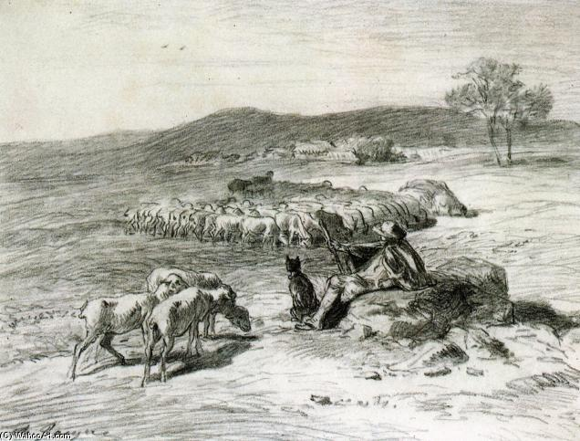 A Shepherd and his Flock, Drawing by Charles Émile Jacque (1813-1894, France)