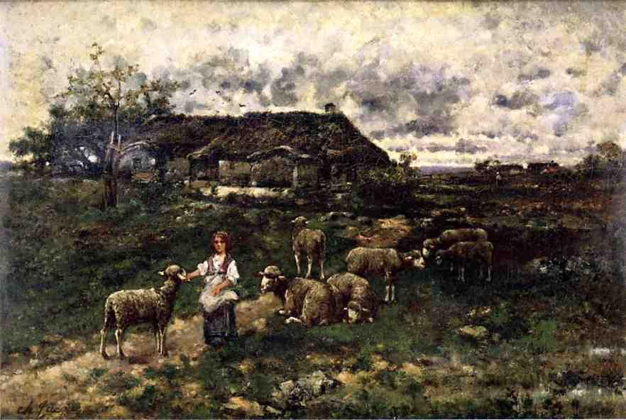A Shepherdess and Her Flock, Oil On Canvas by Charles Émile Jacque (1813-1894, France)